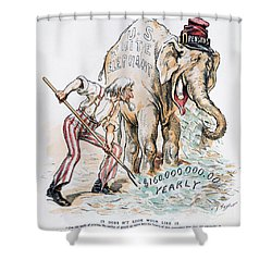 Pension Cartoon, 1893 Shower Curtain by Granger