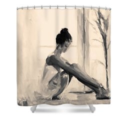 Pensive Ballerina Shower Curtain