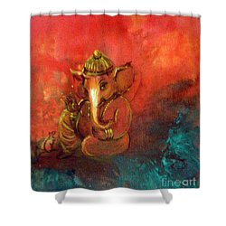 Pensive Ganesha Shower Curtain