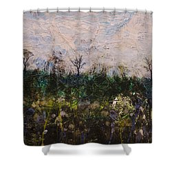 Shower Curtain featuring the painting Pentimento by Ron Richard Baviello