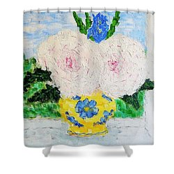 Peonies And Iris On The Window. Shower Curtain