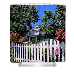 Peonies And Picket Fences Shower Curtain