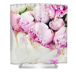 Peonies And Wedding Dress Shower Curtain by Anastasy Yarmolovich