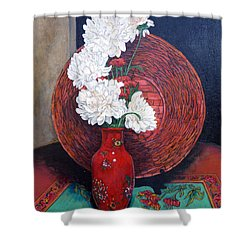 Shower Curtain featuring the painting Peonies For Nana by Tom Roderick