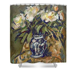 Peonies In Delft Blue Vase On Quilt Shower Curtain