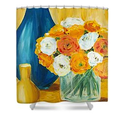 Shower Curtain featuring the painting Peonies by Maria Langgle
