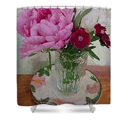Shower Curtain featuring the digital art Peonies With Sweet Williams by Alexis Rotella