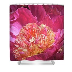Shower Curtain featuring the mixed media Peony - Flower Of Desire by Carol Cavalaris