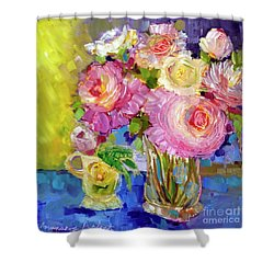 Shower Curtain featuring the painting Peony Love by Rosemary Aubut