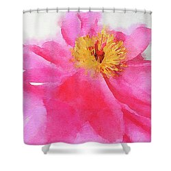 Shower Curtain featuring the digital art Peony by Mark Greenberg