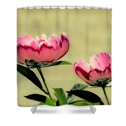 Peony Pair - Enhanced Shower Curtain by MTBobbins Photography