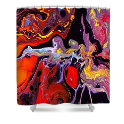 People - Abstract Colorful Mixed Media Painting Shower Curtain