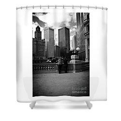 People And Skyscrapers Shower Curtain
