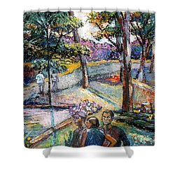 People In Landscape Shower Curtain by Stan Esson