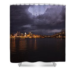 Shower Curtain featuring the photograph Peoria Stormy Cityscape by Andrea Silies