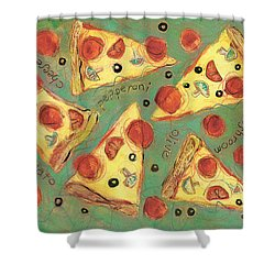 Pepperoni Pizza Shower Curtain by Jen Norton