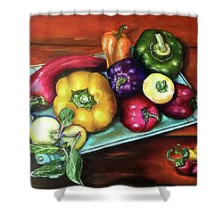 Peppers And A Turquoise Tray Shower Curtain