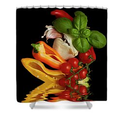 Shower Curtain featuring the photograph Peppers Basil Tomatoes Garlic by David French