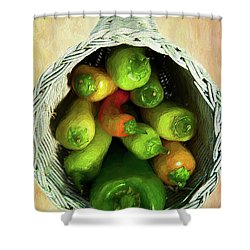 Peppers In A Horn Of Plenty Basket Ap Shower Curtain by Dan Carmichael