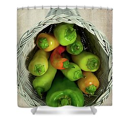 Peppers In A Horn Of Plenty Basket Shower Curtain by Dan Carmichael