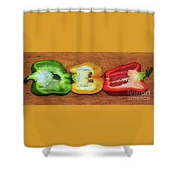 Shower Curtain featuring the photograph Peppers In A Row By Kaye Menner by Kaye Menner