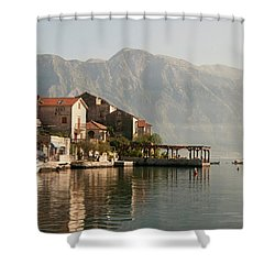 Shower Curtain featuring the photograph Perast Restaurant by Phyllis Peterson