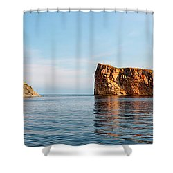 Shower Curtain featuring the photograph Perce Rock At Gaspe Peninsula by Elena Elisseeva
