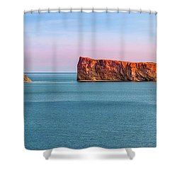 Shower Curtain featuring the photograph Perce Rock Panorama At Sunset by Elena Elisseeva