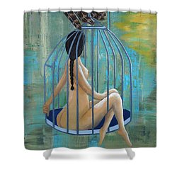 Perceptions Of The Lady In The Birdcage Shower Curtain