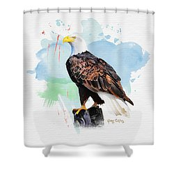 Shower Curtain featuring the painting Perched Eagle by Greg Collins