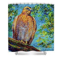 Perched Hawk Shower Curtain