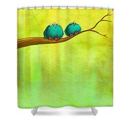 Perching Fluffs Shower Curtain