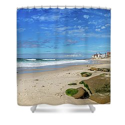 Shower Curtain featuring the photograph Perfect Day At Horseshoe Beach by Peter Tellone