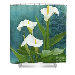Shower Curtain featuring the painting Perfection - Calla Lily Trio by Audrey Jeanne Roberts