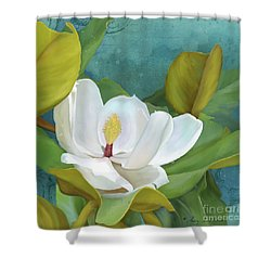 Shower Curtain featuring the painting Perfection - Magnolia Blossom Floral by Audrey Jeanne Roberts