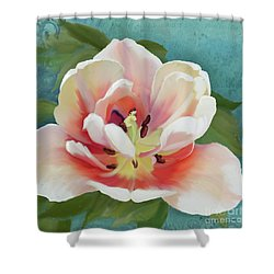 Shower Curtain featuring the painting Perfection - Single Tulip Blossom by Audrey Jeanne Roberts