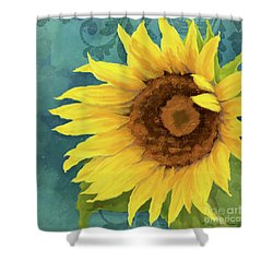 Shower Curtain featuring the painting Perfection - Russian Mammoth Sunflower by Audrey Jeanne Roberts