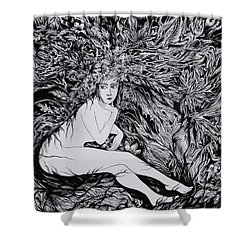 Shower Curtain featuring the drawing Performance Of Autumn by Anna  Duyunova