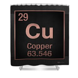 Periodic Table Of Elements - Copper - Cu - Copper On Black Shower Curtain