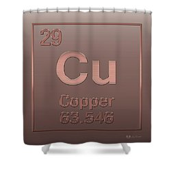 Periodic Table Of Elements - Copper - Cu - Copper On Copper Shower Curtain