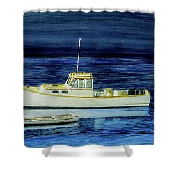 Perkins Cove Lobster Boat And Skiff Shower Curtain