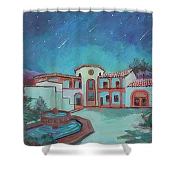 Shower Curtain featuring the painting Perseids Meteor Shower From La Quinta Museum by Diane McClary