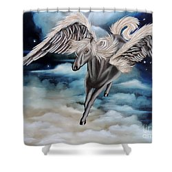 Perseus The Pegasus Shower Curtain by Dianna Lewis