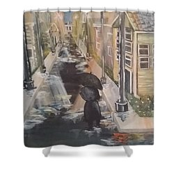 Shower Curtain featuring the painting Persistence by Saundra Johnson