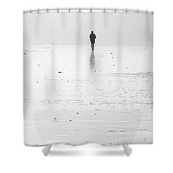Person Running On Beach Shower Curtain