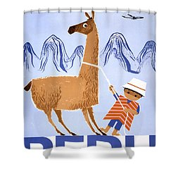 Peru Vintage Travel Poster Restored Shower Curtain