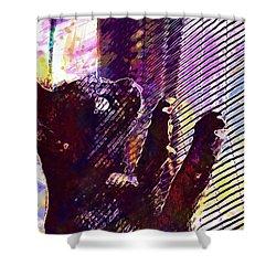 Shower Curtain featuring the digital art Pet Cat Look Kitten  by PixBreak Art