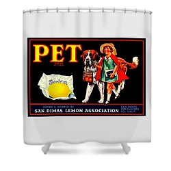 Pet Saint Bernard 1920s California Sunkist Lemons Shower Curtain by Peter Gumaer Ogden