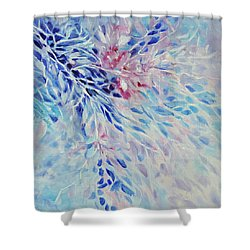 Shower Curtain featuring the painting Petals And Ice by Joanne Smoley