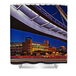 Petco Park And The Harbor Drive Pedestrian Bridge In Downtown San Diego  Shower Curtain by Sam Antonio Photography